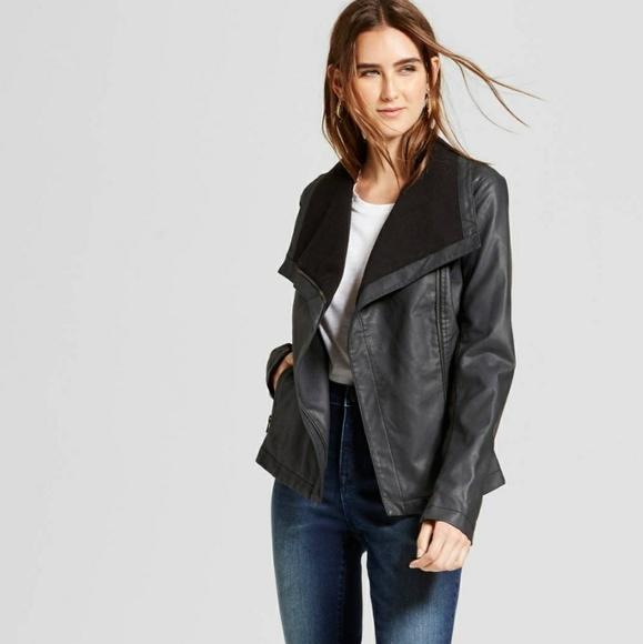0b1e10eb1 NWT Mossimo Rib Knit Faux Leather Moto Jacket NWT